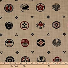 Kokka Japanese Traditional Family Crest Canvas Red Tan Fabric