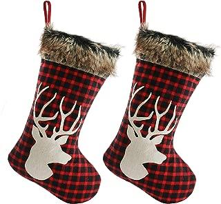 Plaid Cuff Boston International Christmas Flannel Deer Stocking