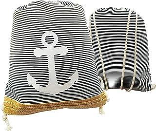 Verify Mochila de Cuerdas a Rayas Unisex Estilo Marinero. Mochila de Cuerda, Bolso Casual Ideal para Deportes, Gimnasio, Playa y Piscina