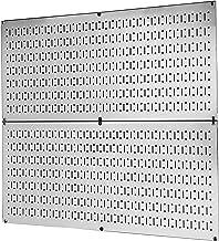 Pegboard Rack Wall Control Garage Storage Galvanized Steel Pegboard Pack - Two 32-Inch x 16-Inch Shiny Metallic Metal Peg Board Tool Organization Panels