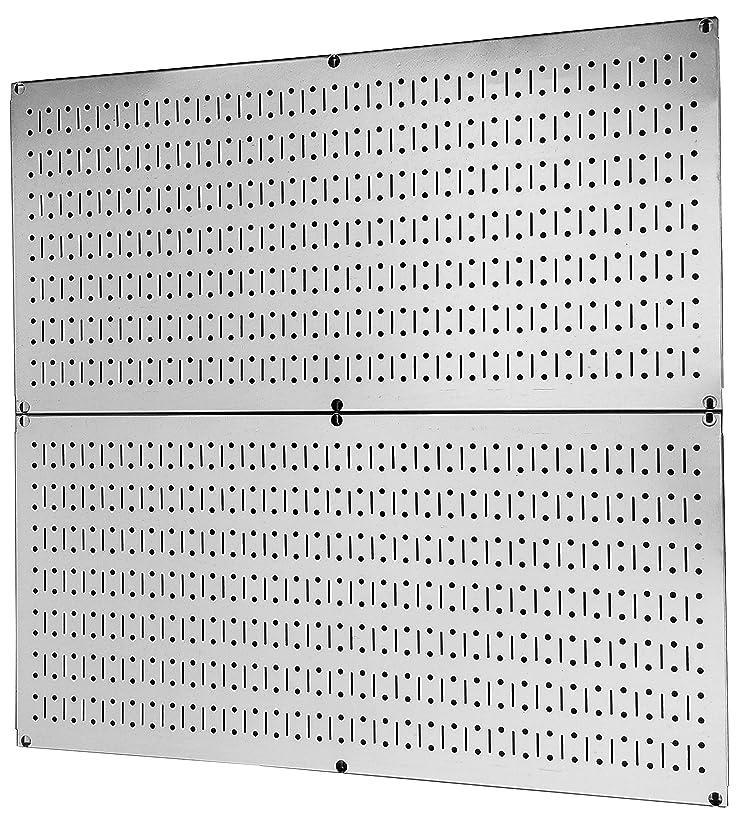 改修する消化非効率的なペグボードラック壁コントロール亜鉛メッキスチールペグボードパック?–?2つ81?cm x 16インチ光沢メタリックメタルペグボードパネル