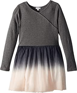 Splendid Littles - Long Sleeve Sweater Dip-Dyed Tulle Dress (Little Kids)