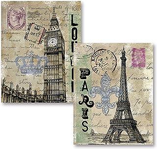 Vintage London Travel Set; Paris Eiffel Tower and London's Big Ben with Postcard Background; Two 11x14 Paper Prints