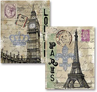 Gango Home Décor Vintage London Travel Set; Paris Eiffel Tower and London's Big Ben with Postcard Background; Two 11x14 Paper Prints