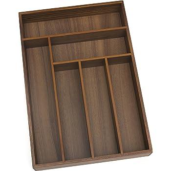 Amazon Com Lipper International 1078 Acacia Wood Deep Flatware Organizer With 6 Compartments 11 3 4 X 17 1 2 X 2 1 2 Home Kitchen