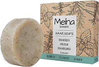 Meina - Haarseife Naturkosmetik - Bio Shampoo Bar mit Brennnessel, Pfefferminze und Rosmarin 1 x 80 g palmölfrei, vegan festes Shampoo, Shampooseife für Männer und Frauen