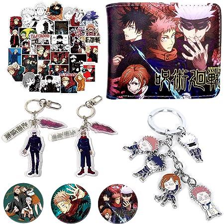 Amazon Com Jujutsu Kaisen Sticker Set Anime Gift Set Including Jujutsu Kaisen Wallet Jujutsu Kaisen Stickers Jujutsu Kaisen Button Pins Jujutsu Kaisen Keychain Kitchen Dining