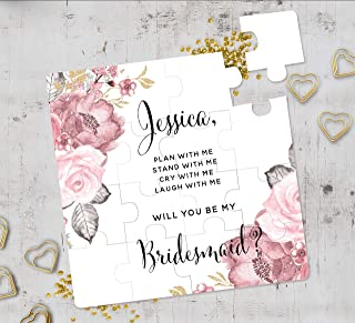 Floral Bridesmaid Proposal Puzzle, Will You Be My Bridesmaid Puzzle, Bridesmaid Gift, Flower Girl Cute Gift, Maid of Honor Gift Puzzle