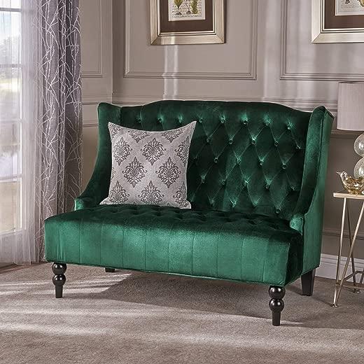 B077XQKTSK✅Christopher Knight Home 303354 Leah Traditional Tufted Winged Emerald Velvet Loveseat
