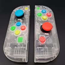 Full Housing Faceplate Handle Shells Case Cover with Battery Middle Frame Shell Plate ABXY Buttons and 3D Analog Joysticks Thumb Sticks Sensor for Nintendo Switch Controller Joy-Con Faceplate Clear