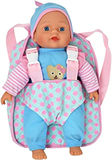 """13"""" Soft Baby Doll with Take Along Pink Doll Backpack Carrier, Briefcase Pocket Fits Doll Accessories and Clothing"""