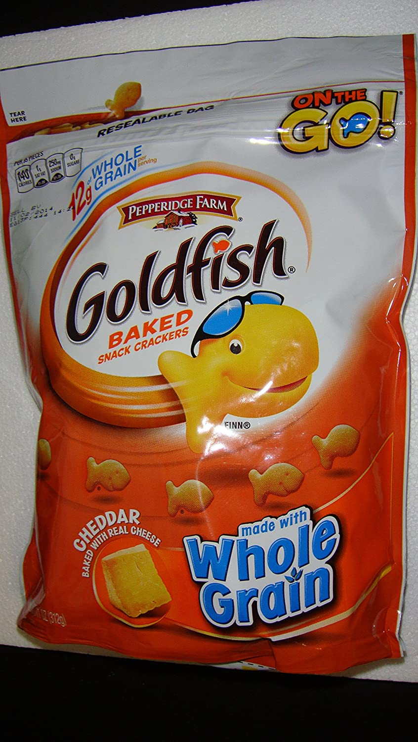In a popularity half Goldfish Whole Grain Cheddar Baked oz Bag Snack Resealable 11