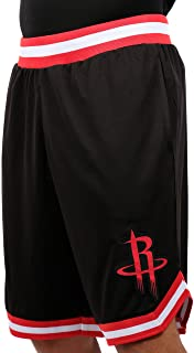 Ultra Game NBA Houston Rockets Men's Mesh Basketball Shorts Woven Active Basic, Large, Black