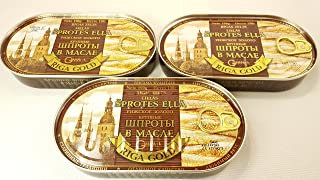 Riga Sprats Riga Gold Smoked Sprats In Oil. LARGE Sized Rigas Zelts - 6.7 Ounce - 3 PACK