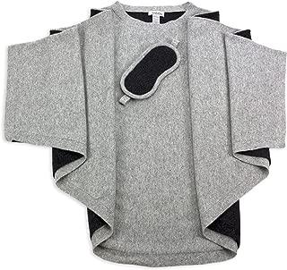100% Pure Cashmere Poncho & Eye Mask Travel Set Gray