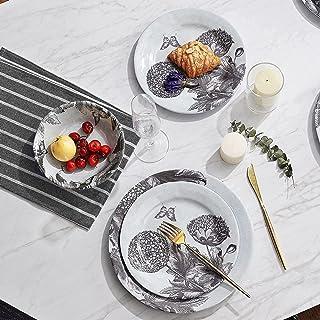 مجموعة أدوات الطعام من 12 قطعة من الميلامين، مجموعة أطباق وأوعية خارجية وداخلية، تصلح للاستخدام في 4، غير قابلة للكسر وآمن...