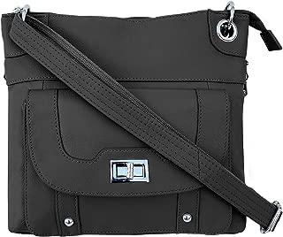 Ladies' Gun Concealment Crossbody Bag - Cowhide Leather, Adjustable Strap and Metal Twist Lock Buckle