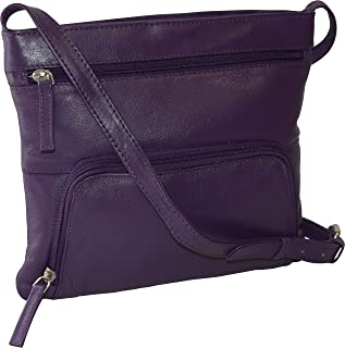 Pielino Women's Genuine Leather Multi Pockets RFID Protection Crossbody Bag (Purple)