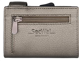 SecWal Monedero para tarjetas con bolsillo para monedas y cierre de cremallera, piel auténtica, mini monedero con libro el...