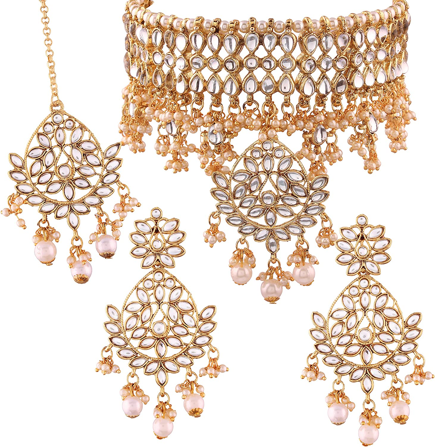 I Jewels Indian Gold Plated Traditional Kundan Choker Ethnic Bollywood Designer Stylish Party Wear Jewelry Set with Earrings & Maang Tikka For Women (K7068W)