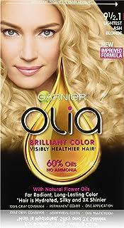 Garnier Olia Ammonia-Free Brilliant Color Oil-Rich Permanent Hair Color, 9 1/2.1 Lightest Ash Blonde (1 Kit) Blonde Hair D...