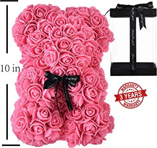 YUDX121 Rose Bear - Rose Teddy Bear on Every Rose Bear -Flower Bear Perfect for Anniversary's,Rose Bear, Mothers, Rose Teddy Bear. - Clear Gift Box Included! 10 Inches Tall - Over 200+ Flowers (Pink)