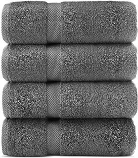 Indulge Linen Premium Turkish Cotton Bath Towels, Soft and Eco-Friendly, Set of 4 (Steel Grey)