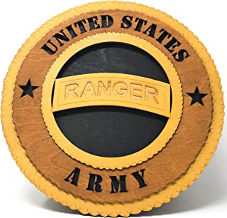 US Army Rangers Laser Crafted Wall Plaque with Real Wood