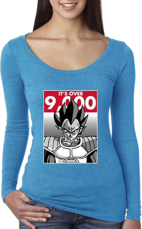 New Way 350  Women's Long Sleeve TShirt It's Over 9000 Vegeta Goku Power Level Dragon Ball Z Large Turquoise
