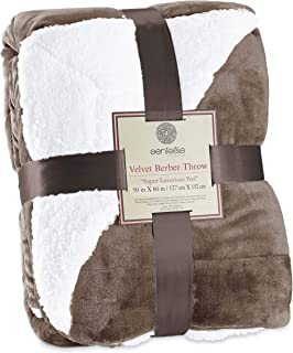 Genteele Sherpa Throw Blanket Super Soft Reversible Ultra Luxurious Plush Blanket (50 inches X 60 inches, Taupe)