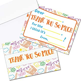 Kids Thank You Cards, 25 Fill in The Blank Thank You Cards for Kids, Children, Toddlers, Boys & Girls - Thank You Notes wi...