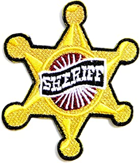Gold SHERIFF OFFICE DEPARTMENT Country Official Star Badge Shield Logo Jacket T shirt Uniform Patch Iron on Embroidered Sign Costume