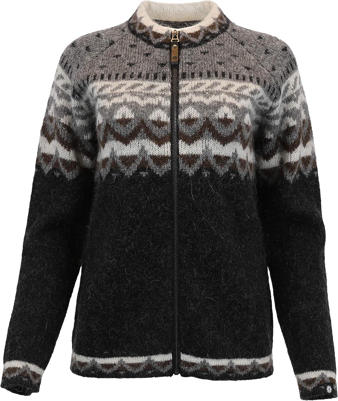 ICEWEAR Unnur Icelandic Zip-Through Wool Shoulders Sweater | Waist and Cuffs