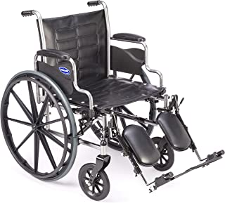 Invacare Tracer EX2 Wheelchair, with Desk Length Arms and T94HCP Elevating Legrests with Padded Calf Pads, 18
