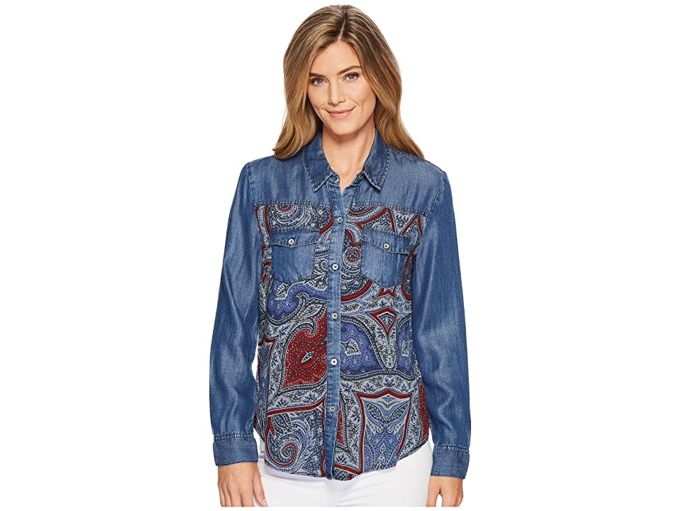 Tribal Long Sleeve Shirt with Print Combo (Nile Blue) Women