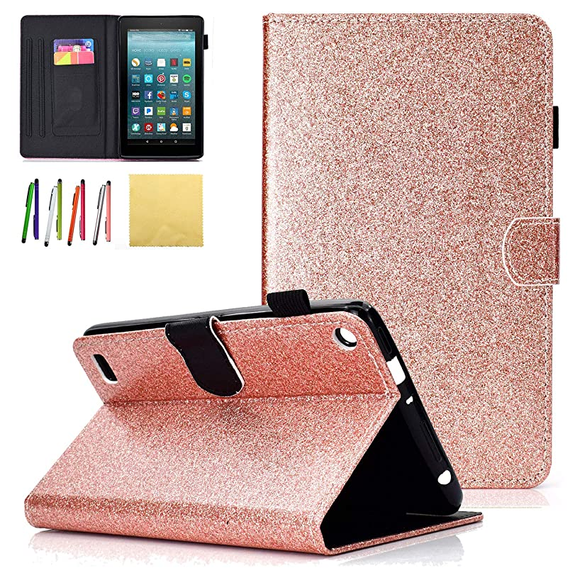 Fire 7 2015 Kids Case, Coopts Slim Folio Glitter Stand Smart Cases and Covers with Stylus Loop for Amazon Fire Tablet (7 inch Display - Previous 5th Generation, 2015 Release Only), Rosegold