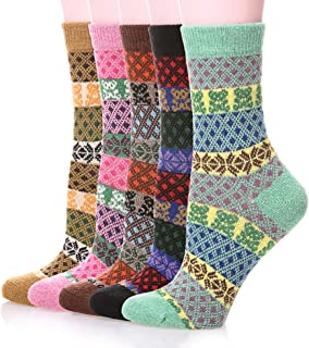 Color City Womens 5 Pairs Colorful Thick Knitting Cotton Crew Socks - Warm Wool Winter Socks