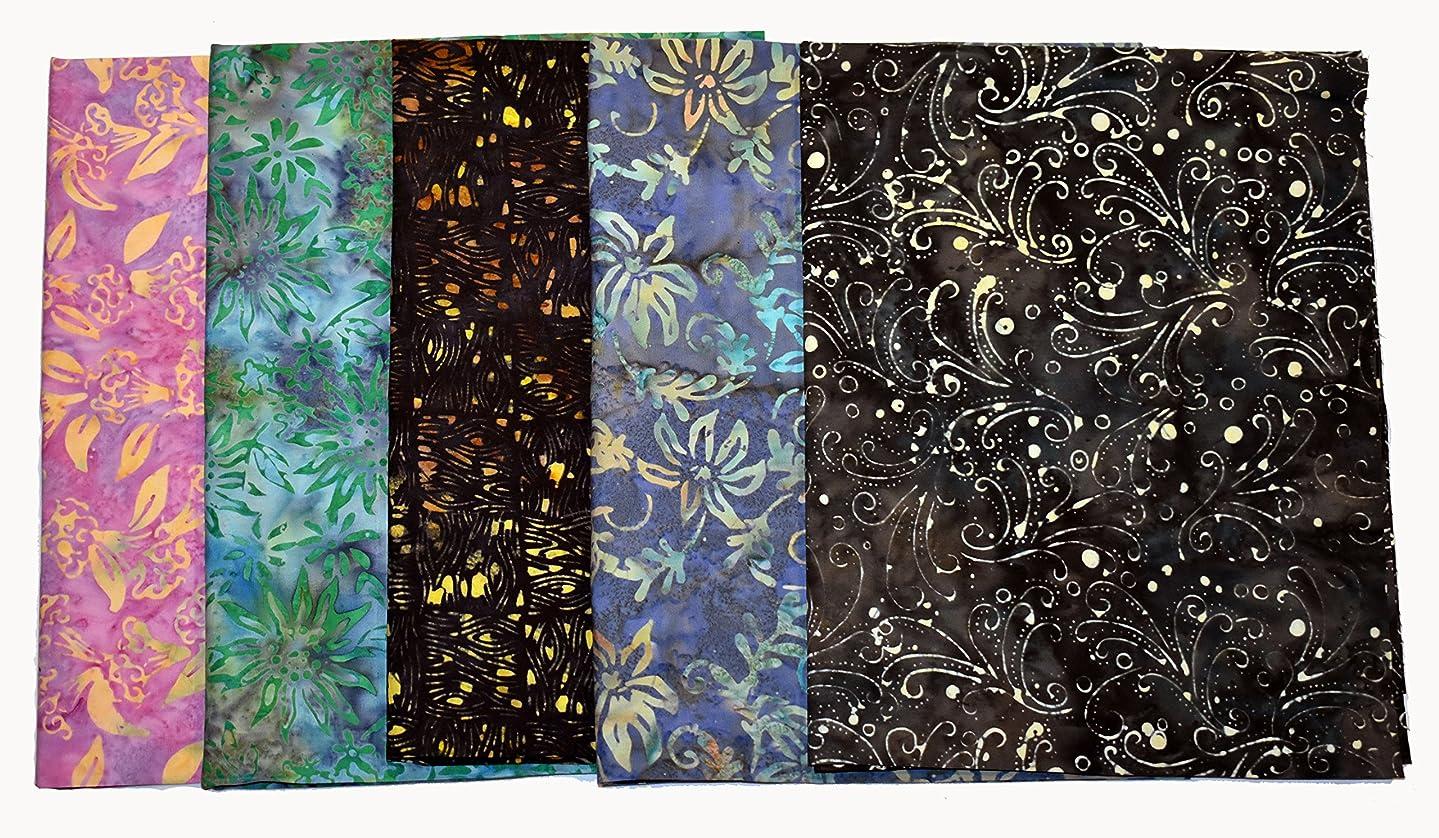 Bali Batiks Premium Batik Half Yard Cuts Pack of 5 (2.5 Yards Total)