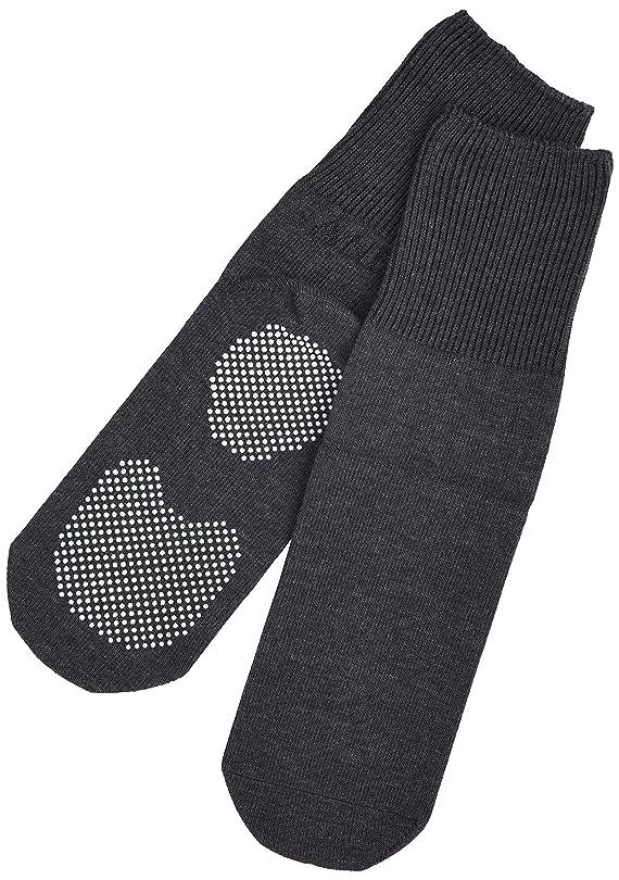 誘発する壮大な不条理エンゼル 履き口ゆるーい靴下 すべり止め付 24-26cm チャコール