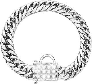 PRADOG Silver Chain Dog Collar with Zirconia Locking 16mm Heavy Duty Metal Puppy Collar Luxury...