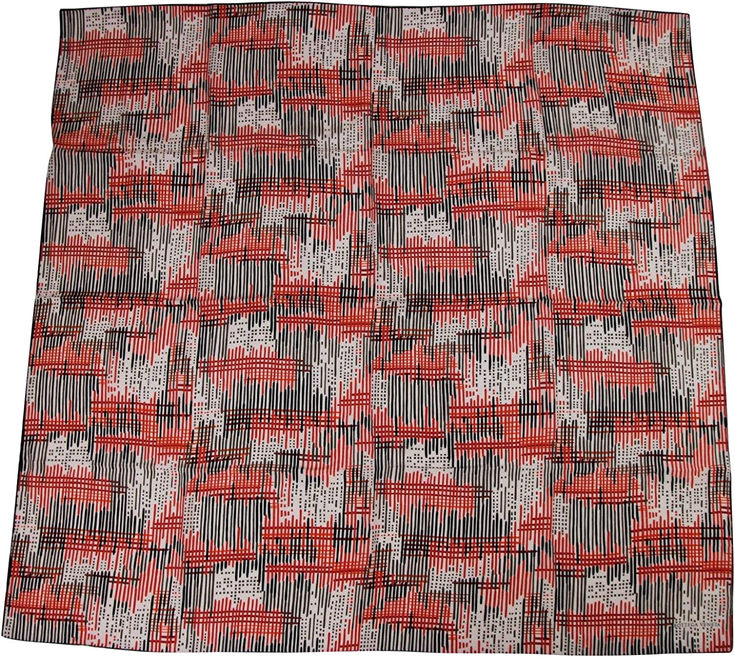 Bottega Veneta Women's Line Patterned Black White Red Silk Large Scarf 339043 6974