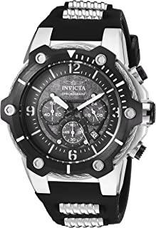 Men's Bolt Quartz Watch with Polyurethane Stainless Steel Strap, Black, 23.5 (Model: 25470)