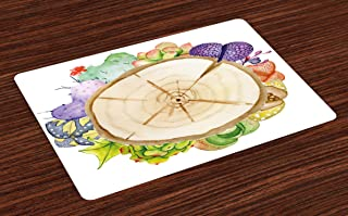 Lunarable Succulent Place Mats Set of 4, Wood Slice Tree Trunk with Cactus Plants Hand Painted Watercolor Style Artwork, Washable Fabric Placemats for Dining Room Kitchen Table Decoration, Multicolor
