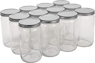 North Mountain Supply 32 Ounce Quart Straight Sided Wide Mouth Canning Jars - with Silver Metal Lids - Case of 12