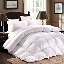 ROSECOSE Luxurious Goose Down Comforter King Duvet Insert Classic Stripe All Seasons 1200 Thread Count 750+ Fill Power 100% Cotton Hypo-allergenic with Tabs (King, Classic Stripe)