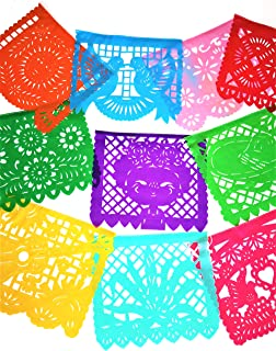 Muunek Large Plastic Papel Picado Banner Mexico Querido 10 Panels 18ft. Long Mexican Fiesta Party Decoration