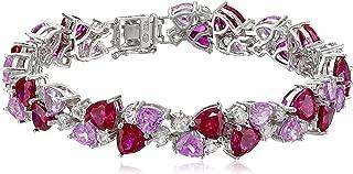 Sterling Silver Created Gemstones Bracelet, 7.25