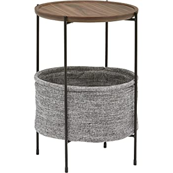 "Amazon Brand – Rivet Meeks Round Side Table with Fabric Storage Basket, 24""H, Walnut and Grey"