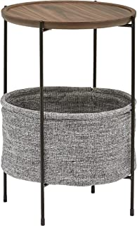 """Amazon Brand – Rivet Meeks Round Side Table with Fabric Storage Basket, 24""""H, Walnut and Grey"""
