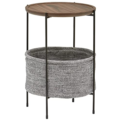 Amazon Brand – Rivet Meeks Round Side Table with Fabric Storage Basket, 24 H, Walnut and Grey